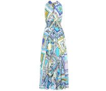 Bedrucktes Kleid mit Baumwolle und Seide
