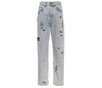 Verzierte Boyfriend Jeans aus Baumwolle