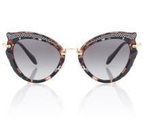 Verzierte Cat-Eye-Sonnenbrille Noir