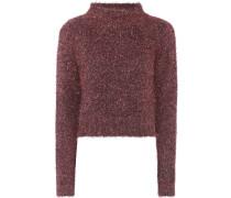 Cropped Pullover mit Metallic-Fäden