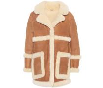 Kurzer Mantel Lody aus Leder mit Fell