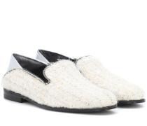 Loafers aus Tweed und Metallic-Leder