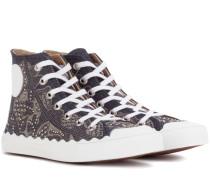 Verzierte High-Top-Sneakers aus Denim