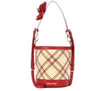 Bucket-Bag aus Stroh mit Lederanteil