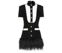 Minikleid aus Tweed mit Federn