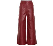 Hose mit weitem Bein aus Leder
