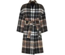 Karierter Mantel aus Alpaka und Wolle