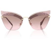 Verzierte Cat-Eye-Sonnenbrille Folie