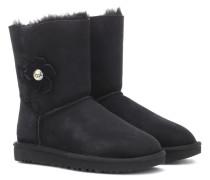 Ankle Boots Baily Button Poppy aus Veloursleder