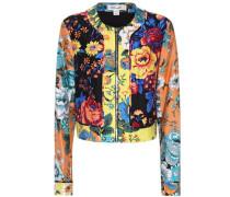 Jacke aus Wolle und Seide mit Blumen-Print