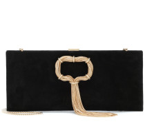 Clutch Club Chain aus Veloursleder