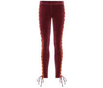 Hose aus Stretch-Velours mit Schnürung