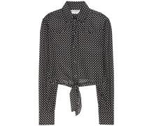 Cropped-Bluse aus einem Baumwoll-Seidengemisch