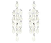 Lange Ohrringe mit Perlen und Kristallsteinen