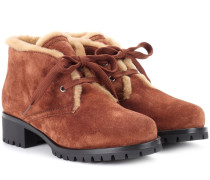 Ankle Boots mit Pelzbesatz