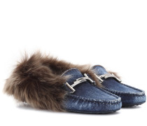 Loafers Gommino aus Denim mit Pelz