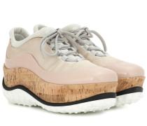Plateau-Sneakers mit Lackleder