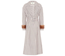 Mantel aus Wolle mit Pelz