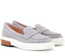 Plateau-Loafers aus Veloursleder