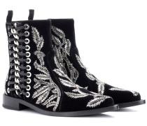 Alexander McQueen Ankle Boots aus Samt