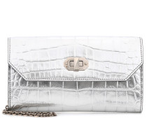 Alexander McQueen Clutch aus Metallic-Leder