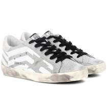 Sneakers Superstar aus Leder mit Glitter