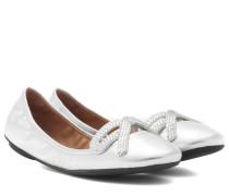 Verzierte Ballerinas aus Leder