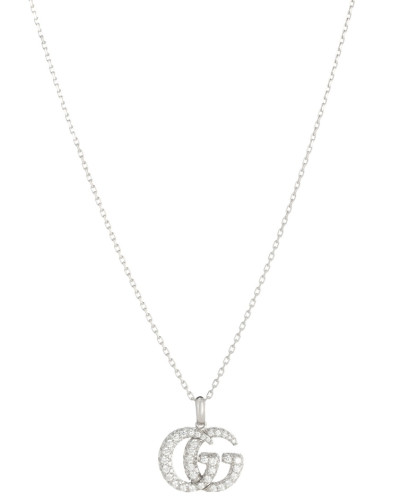 Halskette Double G aus 18kt Weißgold mit Diamanten