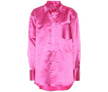 Oversize-Bluse aus Seidensatin