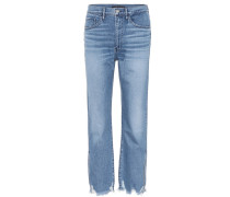 Relaxed Split Cropped Jeans