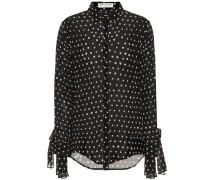 Bluse mit Polka-Dots und Bindedetails