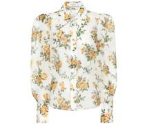 Bedruckte Bluse aus einem Leinenmix