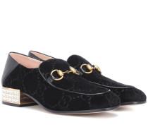 Verzierte Loafers Horsebit aus Samt