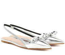 Slingback-Ballerinas aus Metallic-Leder