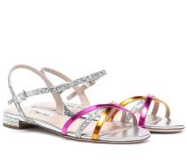 Sandalen aus Leder mit Glitter