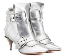 Alexander McQueen Ankle Boots aus Metallic-Leder
