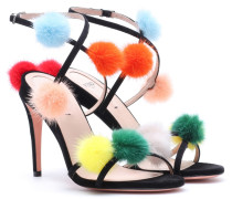 Sandalen mit Pelzbesatz