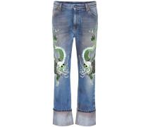 Boyfriend-Jeans mit Stickerei