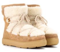 Boots New Fanny aus Veloursleder und Lammfell