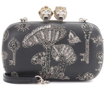 Alexander McQueen Boxclutch Queen and King aus Leder
