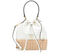 Bucket-Bag aus Canvas und Rattan