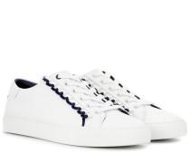 Sneakers aus Leder mit Rüschen