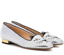 Loafers Kitty aus Metallic-Leder