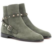 Garavani Ankle Boots Rockstud aus Veloursleder