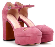 Plateau-Pumps aus Veloursleder
