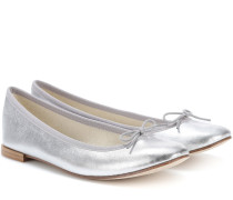 Ballerinas Cendrillon aus Metallic-Leder