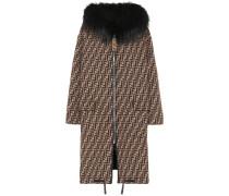 Wendbarer Mantel aus Wolle mit Pelz