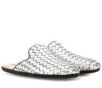 Slippers aus Intrecciato-Leder