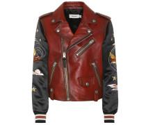 Verzierte Jacke aus Leder und Satin