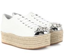 Verzierte Plateau-Sneakers aus Leder